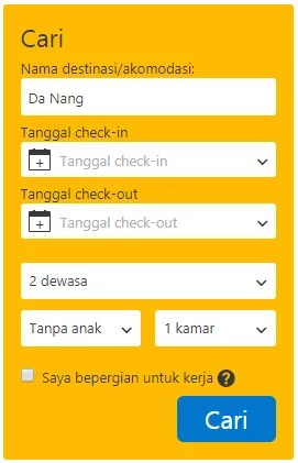 Kotak Pencarian Sidebar Booking.com