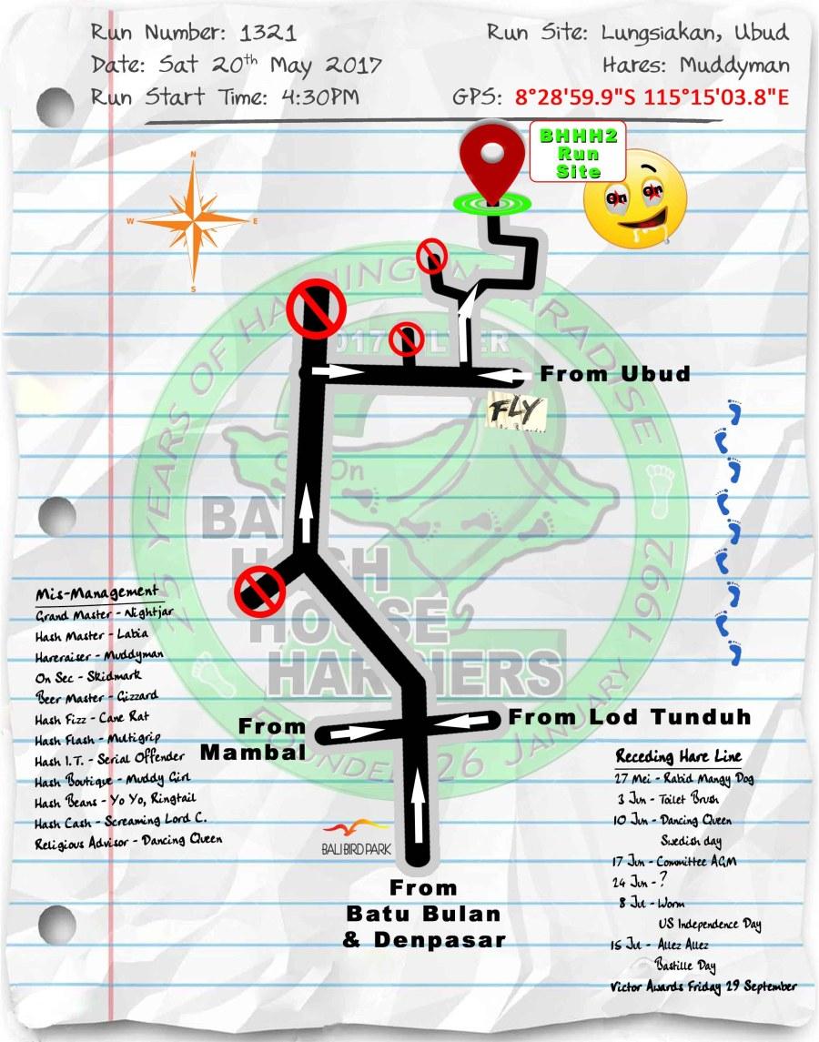 Next Run Map #1321 Lungsiakan Ubud Sat 20-May-2017