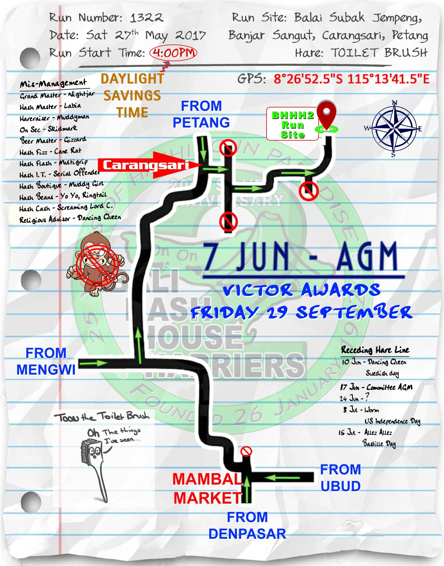 Next Run Map #1323 Balai Subak Jempeng, Carangsari Sat 03-Jun-2017
