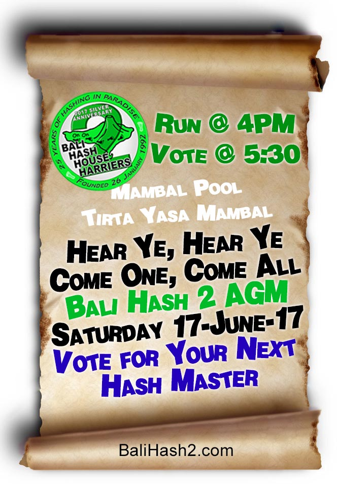 AGM Run Reminder Mambal Pool 17-June-17 Run 1325 Bali Hash 2