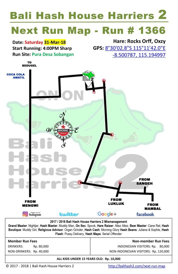 BHHH2 Next Run Map #1366 Pura Desa Sobangan Saturday 31-Mar-18
