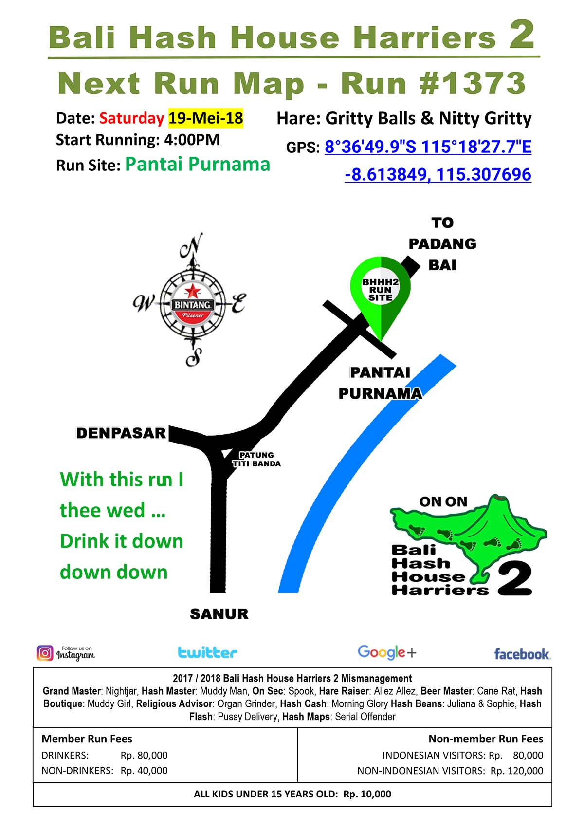 BHHH2 Next Run Map #1373 Pantai Purnama Bali hash 2