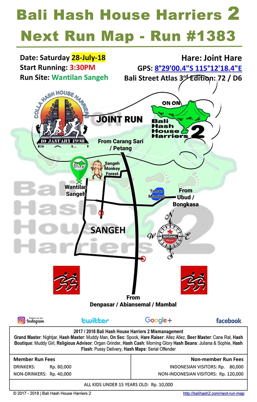 BHHH2 Next Run Map #1383 Wantilan Sangeh 28-Jul-18