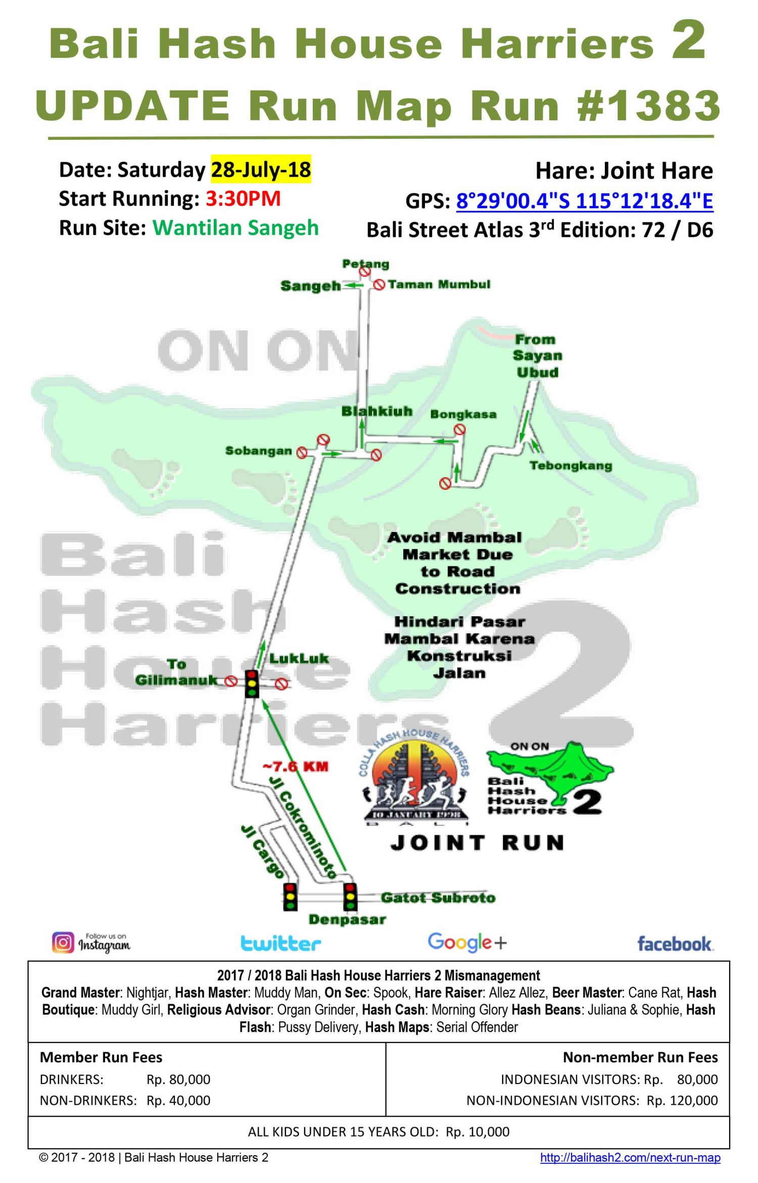 Bali Hash House Harriers BHHH2 Run Map Update Run #1383 Wantilan Sangeh 28-Jul-18