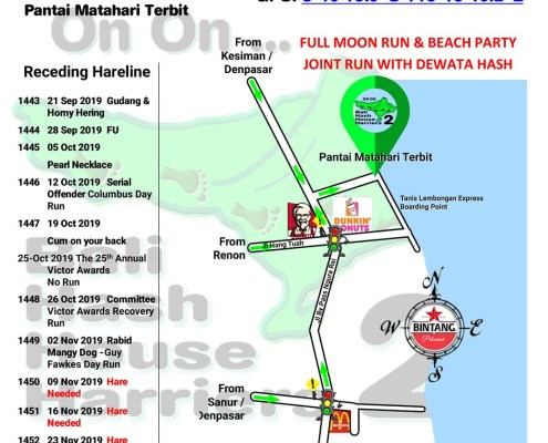 Bali Hash 2 UPDATE Next Run Map #1442 Tanis Lembongan