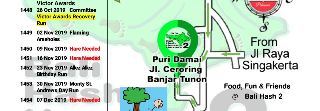 Bali Hash 2 Next Run Map #1446 Puri Damai Br Demayu