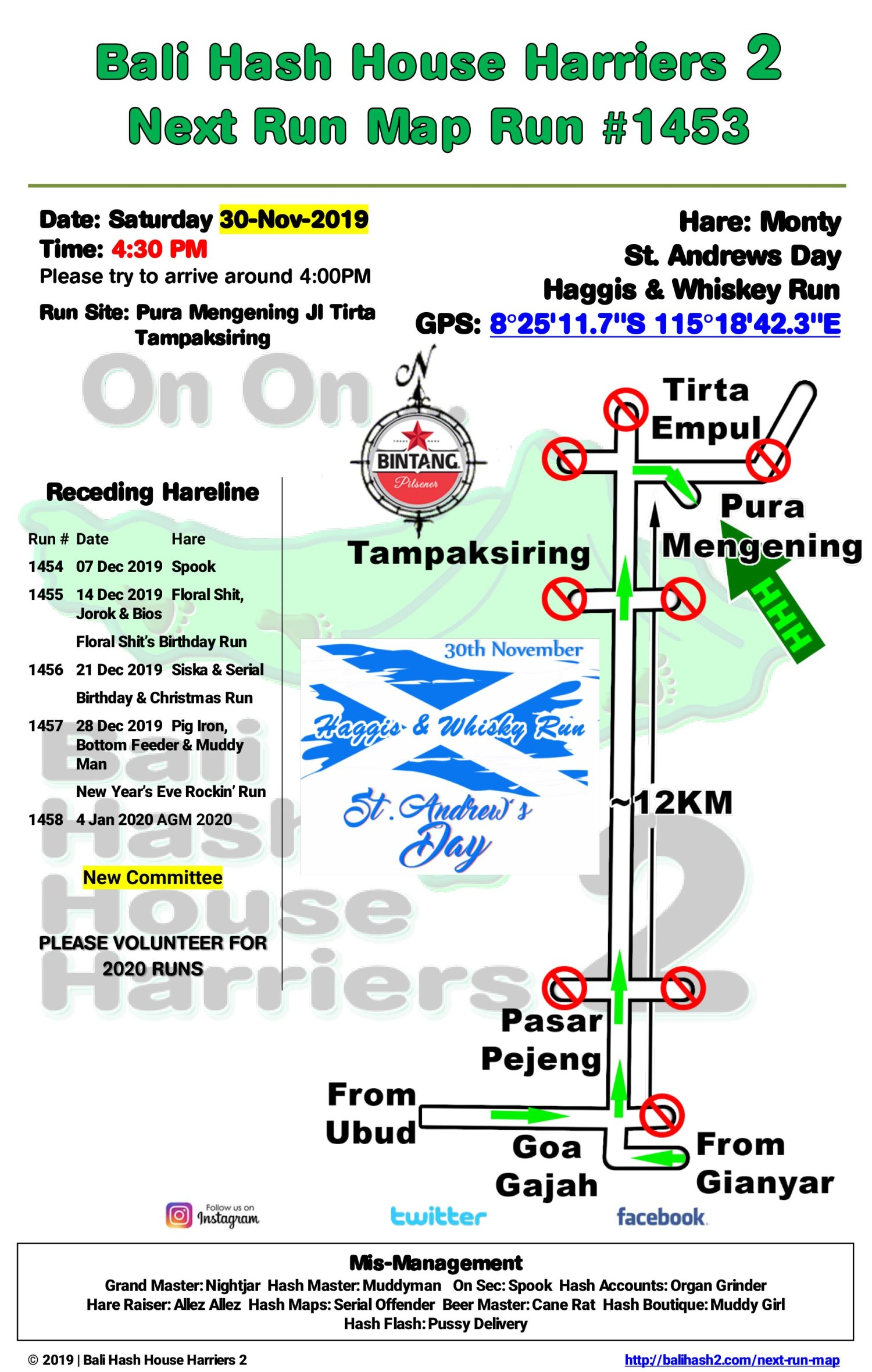 Bali Hash 2 Next Run Map #1453 Pura Mengening Tampaksiring
