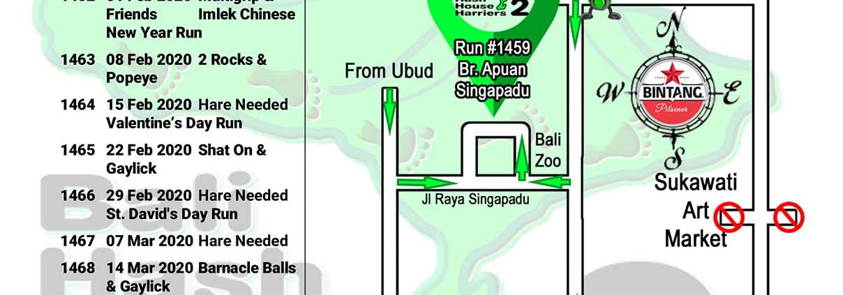 Bali Hash 2 Next Run Map #1459 Br. Apuan Singapadu