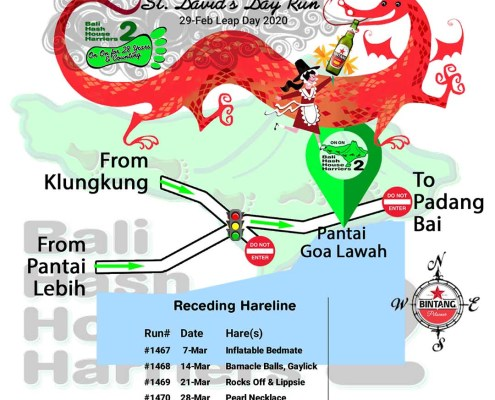 Bali Hash 2 Next Run Map #1466 Pantai Goa Lawah St Davids Day Leap Day Run