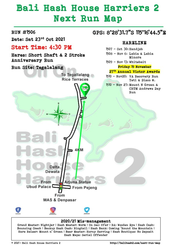 Bali Hash 2 Next Run Map #1506 Tegalalang Saturday 23-Oct-2021