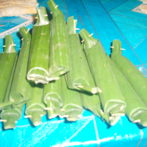 Jaje bendu wrapped in banana leaves