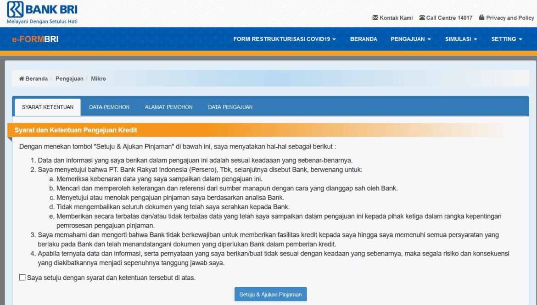 Halaman eform bri.co.id/kur pengajuan BRI KUR Super Mikro 2021