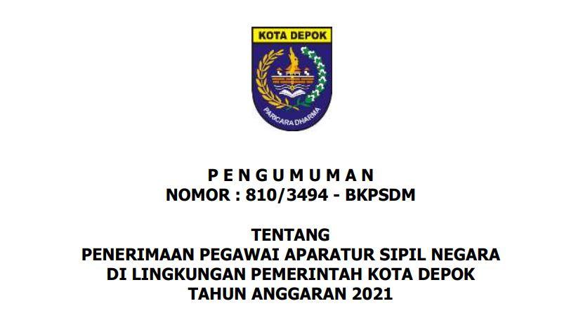 Download PDF Formasi CPNS 2021 Kota Depok, PPPK Guru dan Non Guru di SSCN.BKD.GO.ID