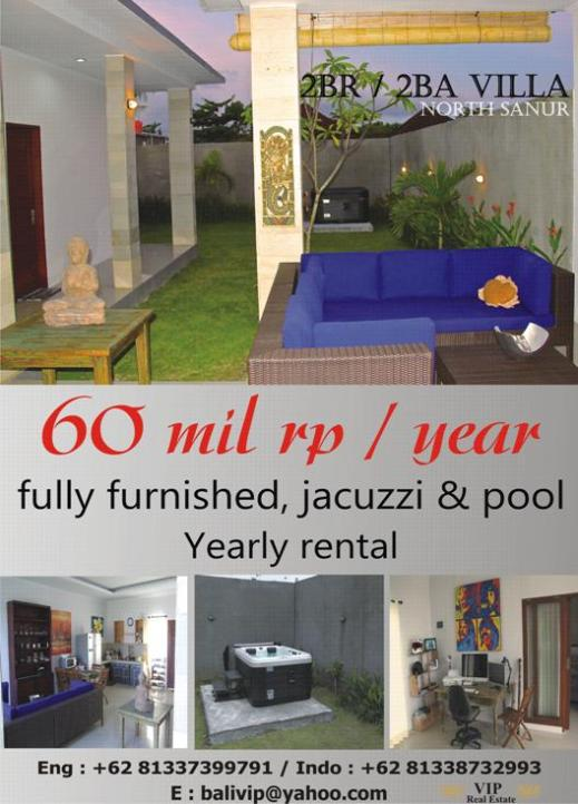 2 Bedroom Villa in Sanur for rent 60 Mil Rp / year