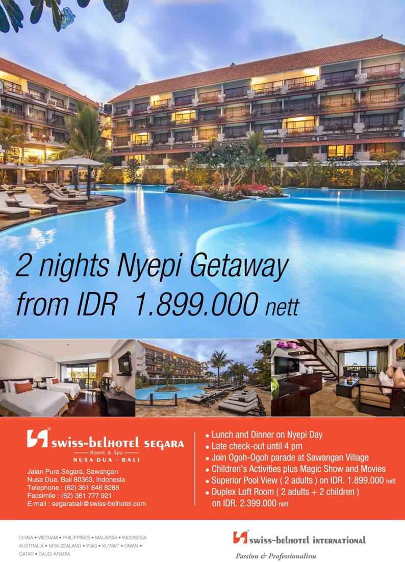 2 nights Nyepi gateaway at Swiss-Belhotel Segara