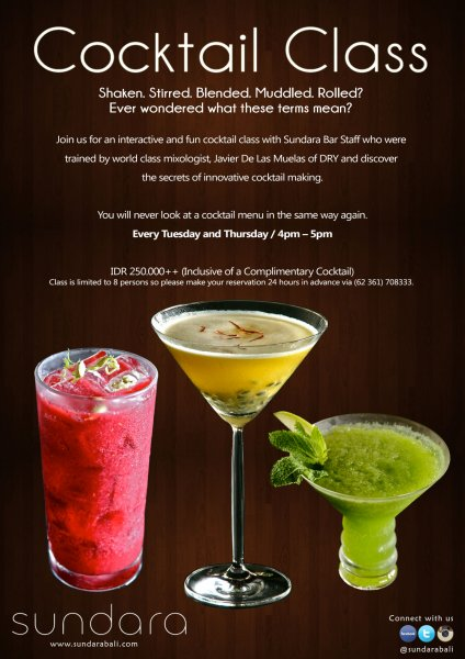 Cocktail Class Every Tuesday & Thursday @ Sundara Beach Club