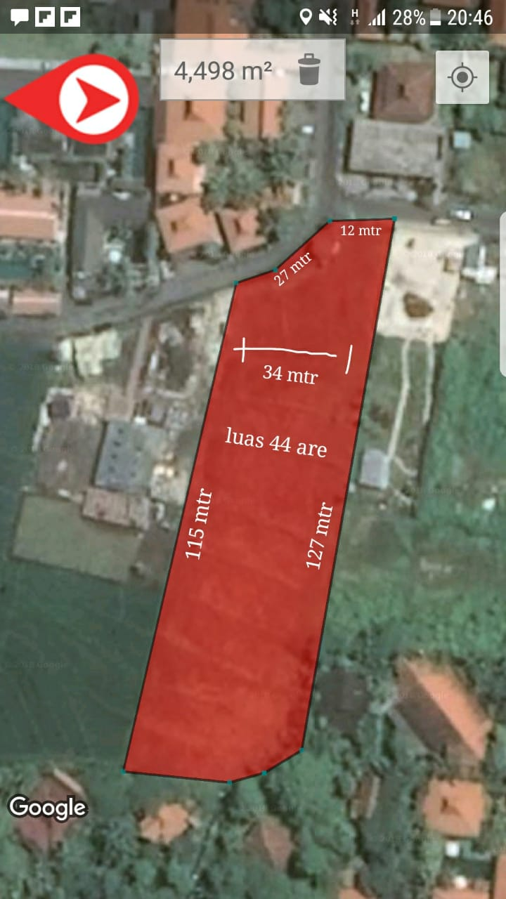 Land 4400 sqm for 25 years lease next to Canggu Plaza in Brawa near Canggu Club Canggu Bali