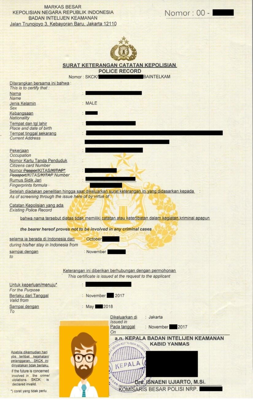 SKCK Indonesia Surat Keterangan Catatan Kepolisian Police Record