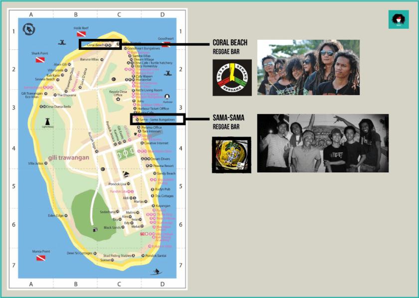 Carte de bars reggae à Gili Trawangan S2B balisolo Joe Mellow Mood coral beach samasama