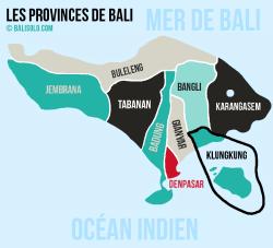 Balisolo - Carte des provinces (kabupaten) de Bali