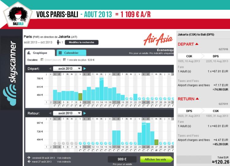 Vols Paris-Bali 08/2013  vol paris bali prix