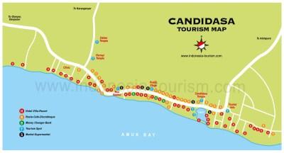 Carte de la ville de Candidasa à l'est de Bali en Indonésie