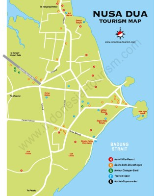 Carte de Nusa Dua au sud Bali en Indonésie