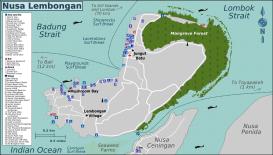 Carte de l'île de Nusa Lembongan et Nusa Ceningan au sud de Bali en Indonésie