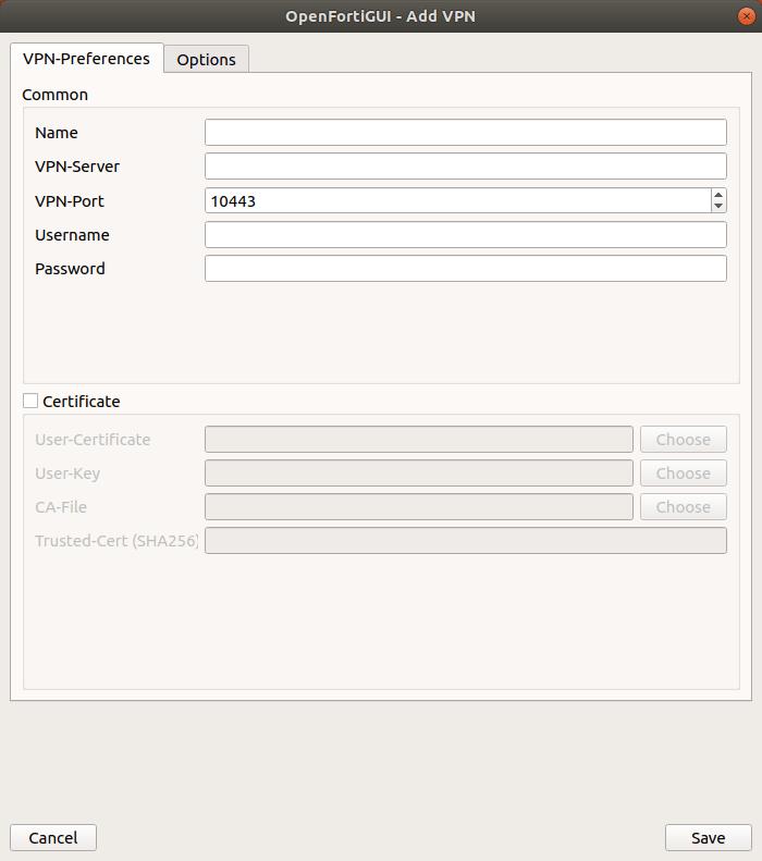 OpenFortiGUI Add VPN Dialog