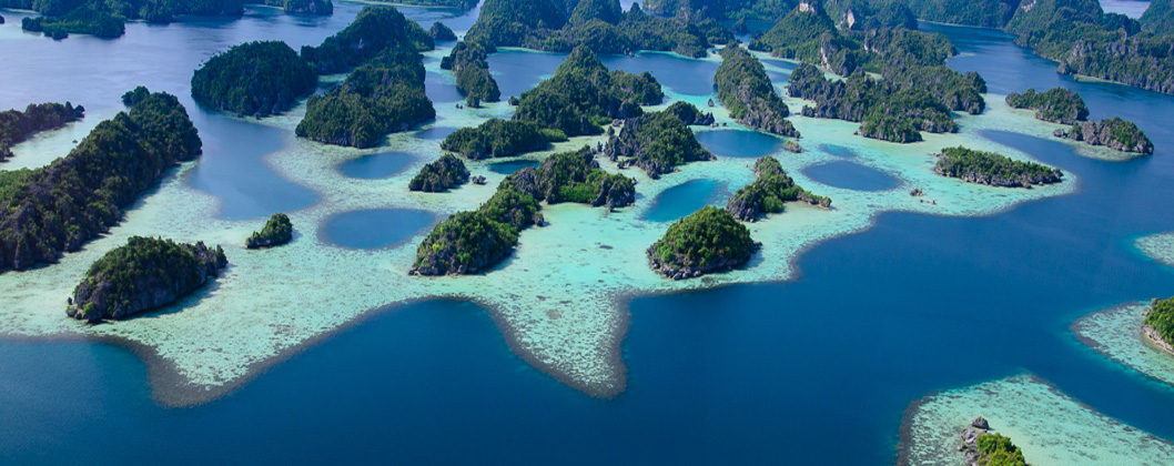 Aerial photo of Misool area from a helicopter, Misool, Raja Ampat, West Papua, Indonesia
