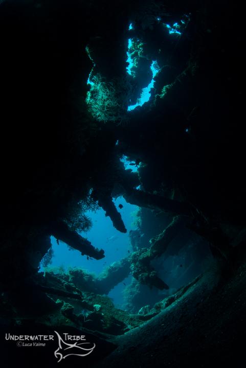 showing inside the tulamben shipwreck, natural light photo