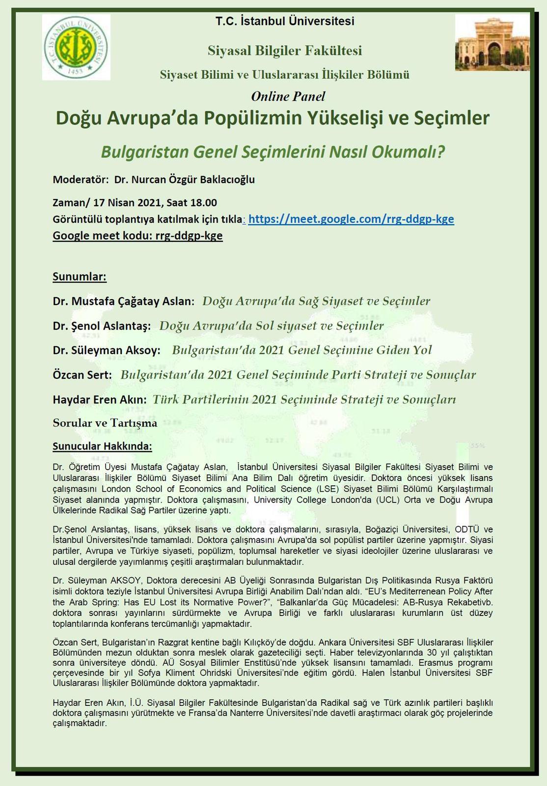 Bulgaristan paneline davet