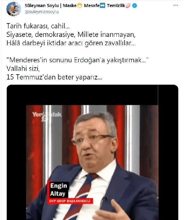 CHP'li Altay'ın 'Menderes' benzetmesine tepki