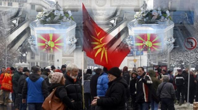 Makedonija menja ime, ispred Sobranja protest