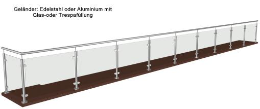 Wartungsfreie Geländer VSG Glas-Trespa
