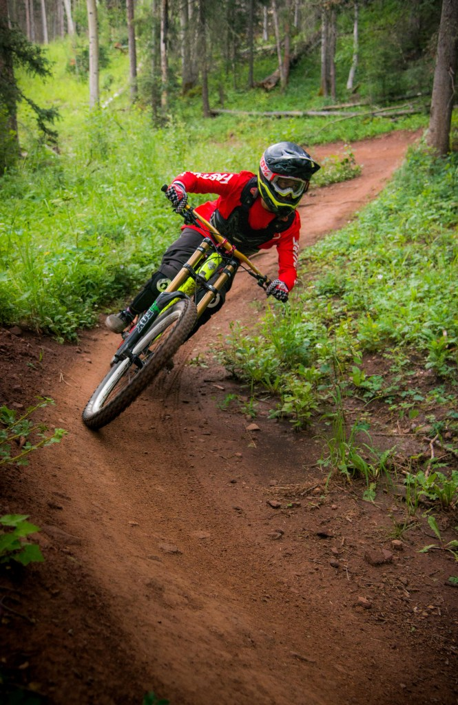 Downhill mountain biker in Angel Fire, New Mexico