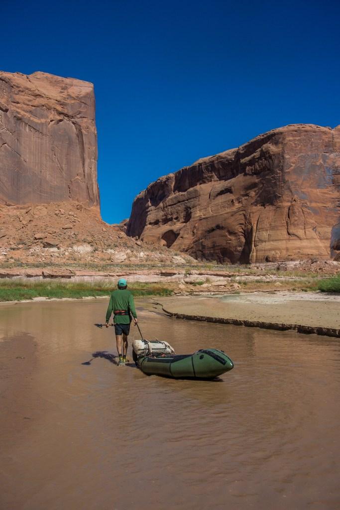escalante river packrafting boatwalking
