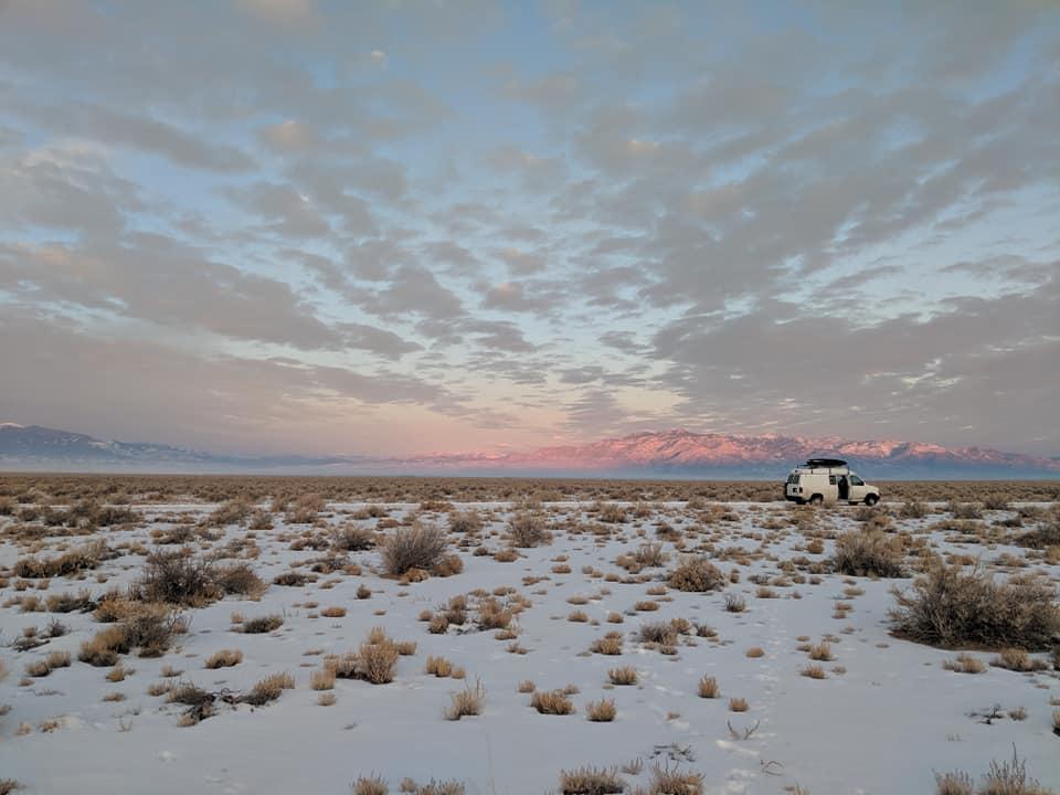 Dani-Reyes-Acosta's-van-on-US-50-the-Loneliest-Highway-of-America-at-sunrise