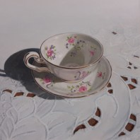 "Tea Time #1 Acrylic on Board 9"" x 9"" Price on Request"
