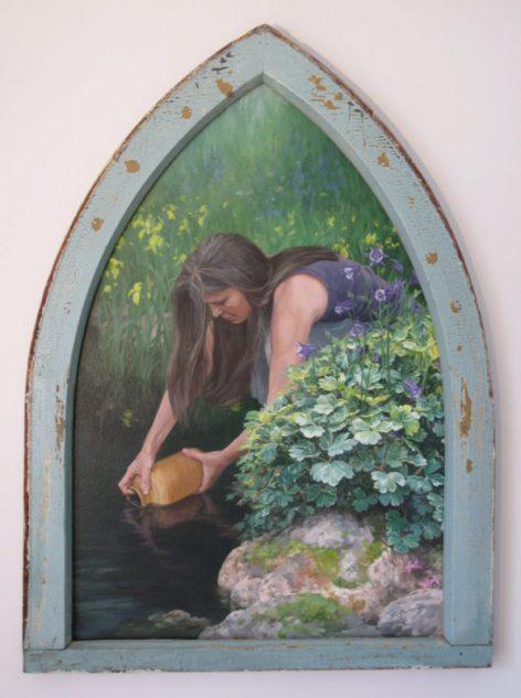 "In The Garden #2 ""Artesian Spring"" 20""X 30"" Acrylic on Panel"