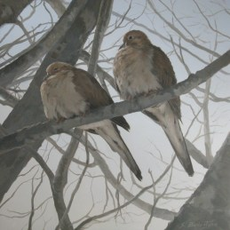 """Mourning Doves in Winter"" 12"" X 12"" Acrylic on Russian Birch Panel"
