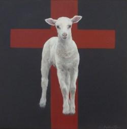 "Lamb of God 8"" X 8"" Acrylic on Hardboard, Series ""100 Portraits of Christ"""