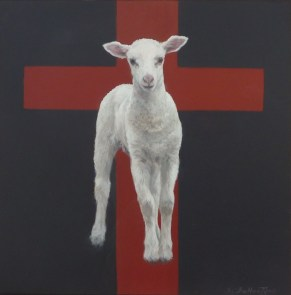 "Lamb of God 8"" X 8"" Acrylic on Hardboard, Series ""100 Portraits of Christ"""