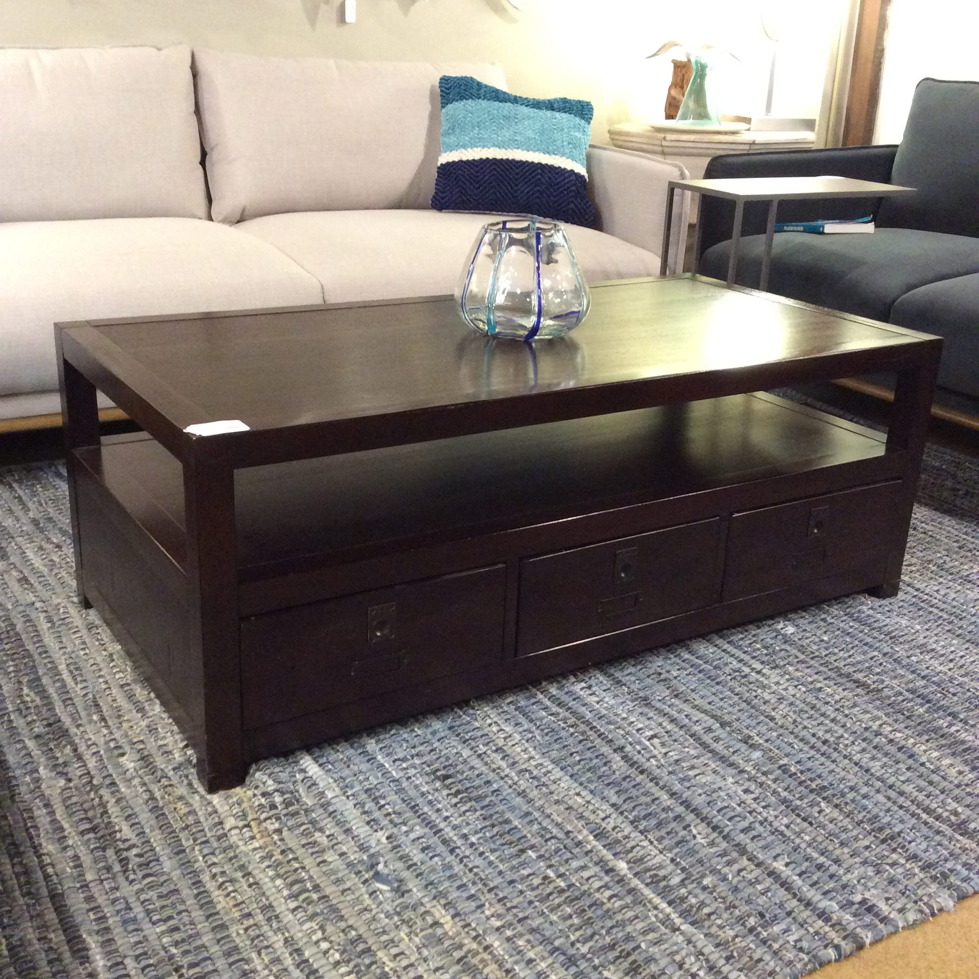 pottery barn 3 drawer coffee table sold
