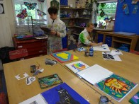 Ballard School Year 9 Art canvas preparation