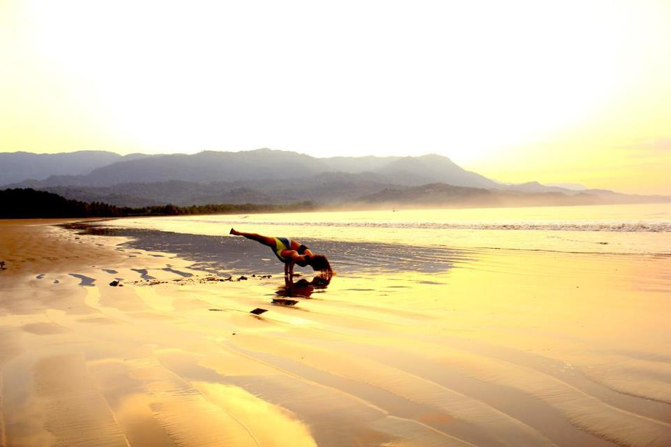 Pilar Practicing Morning Yoga At Playa Uvita Costa Rica