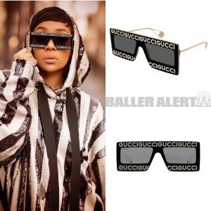 38d25622347 Ballerific Fashion  Monica Brown In Gucci s Mask-Frame Sunglasses ...