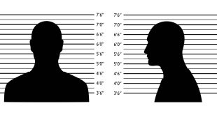 Police lineup. Mugshot background with silhouette men