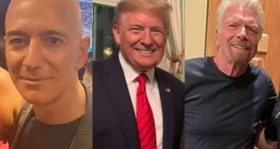 Jeff Bezos, Donald Trump and Richard Branson.