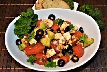 Wassermelonen Salat mit Feta und Oliven